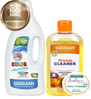 Sodasan sensitive laundry liquid and orange cleaner highly commended