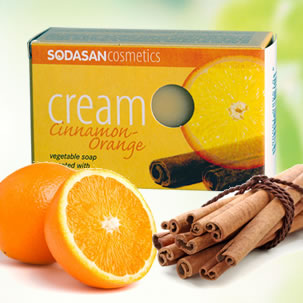 Sodasan - Certified Organic Cream Soap Orange and Cinnamon