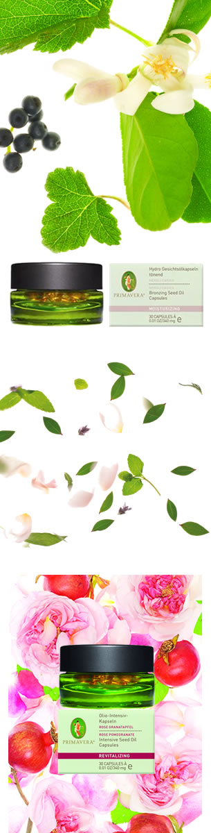Primavera Seed Oil Capsules to hydrate bronze and minimise scars