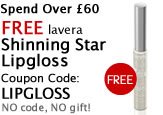 Free Beauty Gift when you spend over �60 is Lavera free shinning star lipgloss