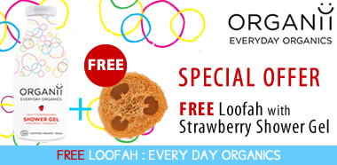 Organii Special Offer - FREE Natural Loofah with Organic Strawbery Shower Gel