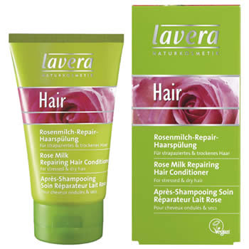 lavera hair care, rose milk conditioner 150ml organic