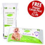 Organyc baby wipes with free organic cotton wool pleat
