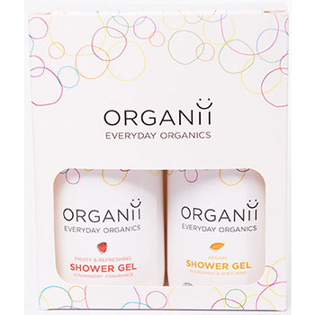 organii strawberry and argan shower gel set