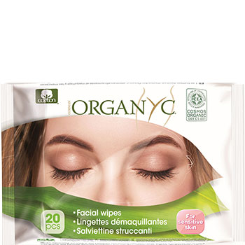 Organyc Facial Cleansing Wipes for Sensitive Skin Organic Cotton