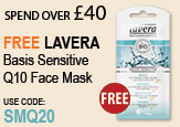 Free Beauty Gift Spend Over £40  Free Lavera Basis Sensitive Q10 Face Mask