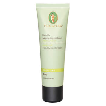 primavera life energising body care ginger lime, hand and nail cream 50ml organic
