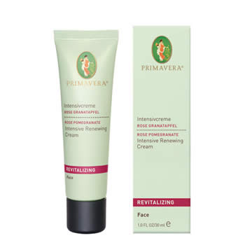primavera life revitalising face care rose pomegranate, intensive renewing cream 30ml organic