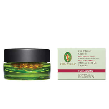 primavera life revitalising face care rose pomegranate, intensive seed oil capsules 30 caps organic